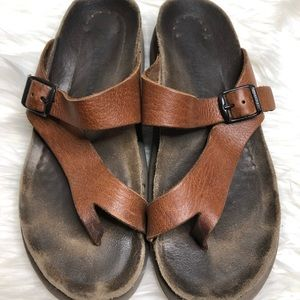 Mephisto Helen Thong Sandals Brown Leather 39/9